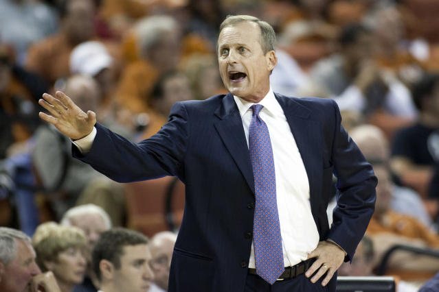 Head coach Rick Barnes of the University of Texas Longhorns has words with an official against the Coppin State University Eagles on November 12, 2012 at the Frank Erwin Center in Austin, Texas. (Photo by Cooper Neill/Getty Images)