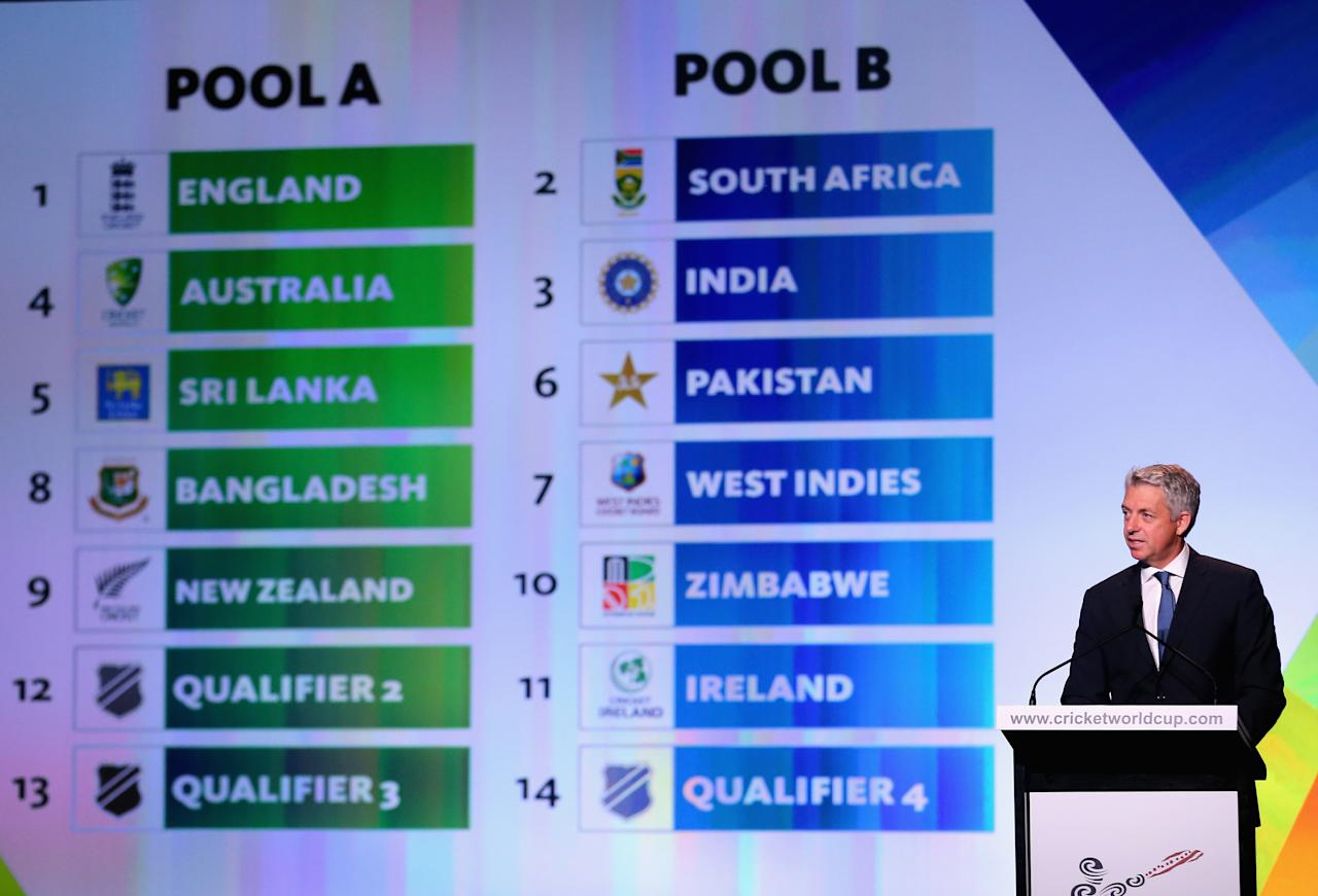 MELBOURNE, AUSTRALIA - JULY 30:  David Richardson, CEO, International Cricket Council announces the pools during the Official Launch of the ICC Cricket World Cup 2015 on July 30, 2013 in Melbourne, Australia.  (Photo by Scott Barbour/Getty Images)