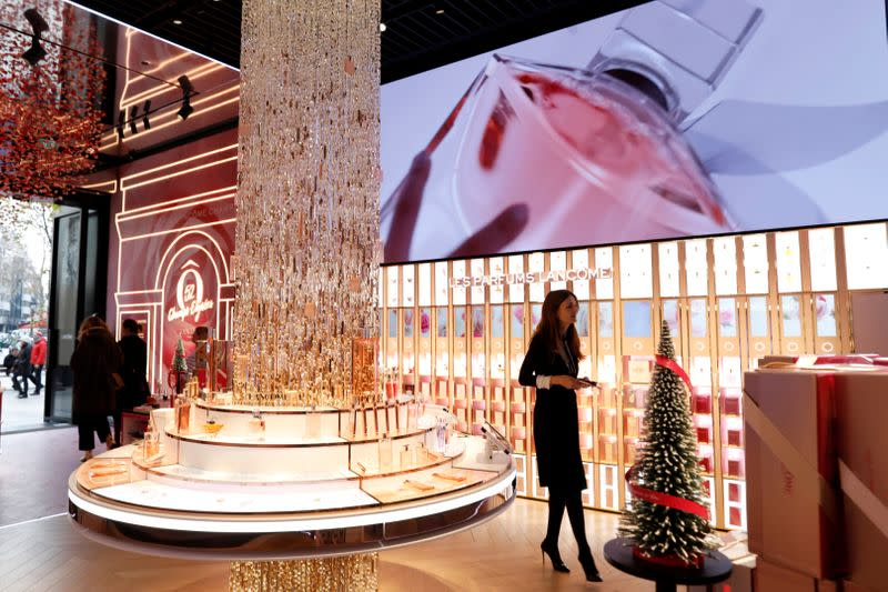 The newly-opened shop of Lancome on the Champs-Elysees avenue in Paris
