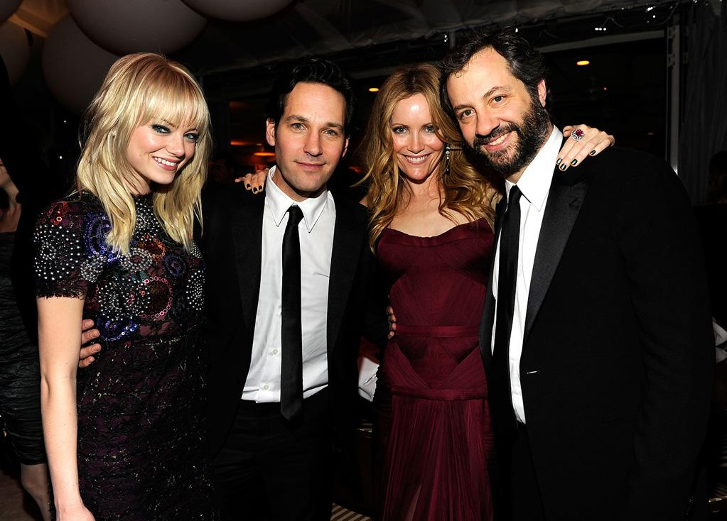 Emma Stone joined best buds Paul Rudd, Leslie Mann, and Judd Apatow for a photo op at the Sunset Tower.