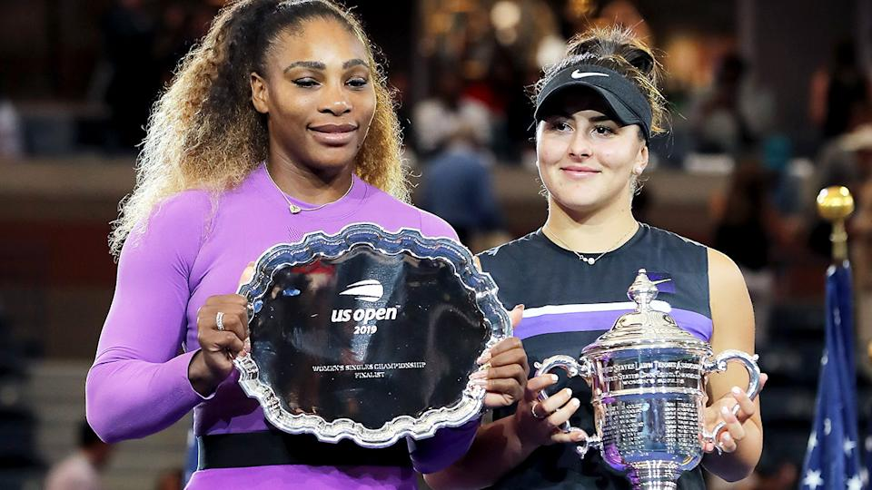 Bianca Andreescu and Serena Williams, pictured here after the US Open final in 2019.