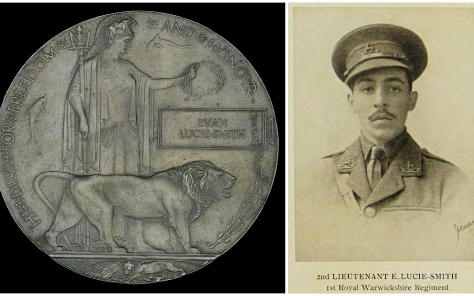 The plaque commemorating Lieutenant Euan Lucie-Smith, of 1st Battalion, Royal Warwickshire Regiment, believed to have been the first black officer commissioned in the British army during the Great War.  - Dix Noonan Webb / SWNS.COM