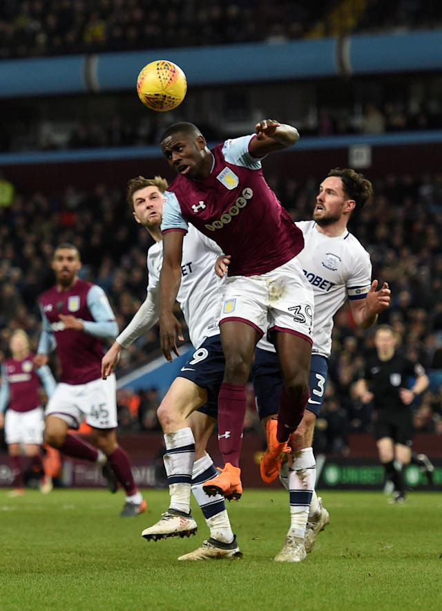 "Soccer Football - Championship - Aston Villa vs Preston North End - Villa Park, Birmingham, Britain - February 20, 2018 Aston Villa's Keinan Davis is fouled for a penalty Action Images/Adam Holt EDITORIAL USE ONLY. No use with unauthorized audio, video, data, fixture lists, club/league logos or ""live"" services. Online in-match use limited to 75 images, no video emulation. No use in betting, games or single club/league/player publications. Please contact your account representative for further details."