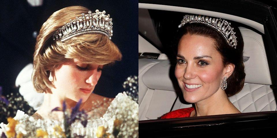"""<p>Most commonly associated with Princess Diana, the <a href=""""http://www.telegraph.co.uk/news/uknews/kate-middleton/12040776/Duchess-of-Cambridge-wears-Princess-Dianas-favourite-tiara-to-diplomatic-reception-at-Buckingham-Palace.html"""" rel=""""nofollow noopener"""" target=""""_blank"""" data-ylk=""""slk:tiara"""" class=""""link rapid-noclick-resp"""">tiara</a> was made for Queen Mary in the early 1900s before being passed to Queen Elizabeth. <a href=""""https://www.townandcountrymag.com/society/tradition/a10298658/kate-middleton-diana-lovers-knot-tiara/"""" rel=""""nofollow noopener"""" target=""""_blank"""" data-ylk=""""slk:She gave it to Princess Diana"""" class=""""link rapid-noclick-resp"""">She gave it to Princess Diana</a> as a wedding gift, <a href=""""https://www.townandcountrymag.com/society/tradition/a10302981/cambridge-love-knot-tiara/"""" rel=""""nofollow noopener"""" target=""""_blank"""" data-ylk=""""slk:and it's also been seen on the Duchess of Cambridge."""" class=""""link rapid-noclick-resp"""">and it's also been seen on the Duchess of Cambridge.</a></p>"""