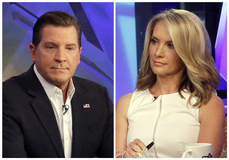 """FILE - In this combination photo, Fox News personalities Eric Bolling, left, and dana Perino appear on """"The Five,"""" program on July 22, 2015 in New York. Fox News Channel expects Bill O'Reilly back from his vacation on April 24, ready to resume his position as cable television news' most popular host. But given advertiser defections and swirl of stories about payouts to five women to keep harassment allegations quiet, it's impossible to dismiss the idea that he may lose his television home for the past two decades. Replacements candidates could include Bolling, left, and Perino. (AP Photo/Richard Drew, file)"""