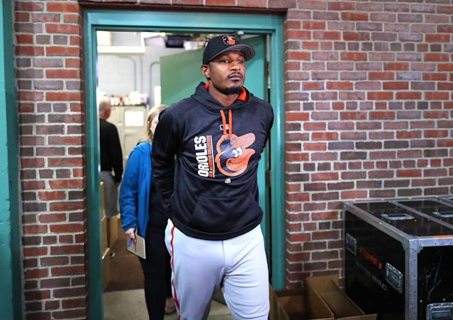 Former Orioles star Adam Jones spoke out about racial slurs directed at him at Fenway Park in 2017. (Photo by John Tlumacki/The Boston Globe via Getty Images)