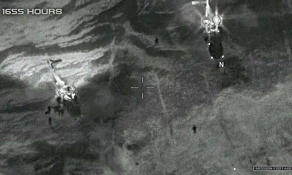 A grab from a video released by the US defence department shows two French helicopters evacuating US service members after an ambush in Niger in October 2017.