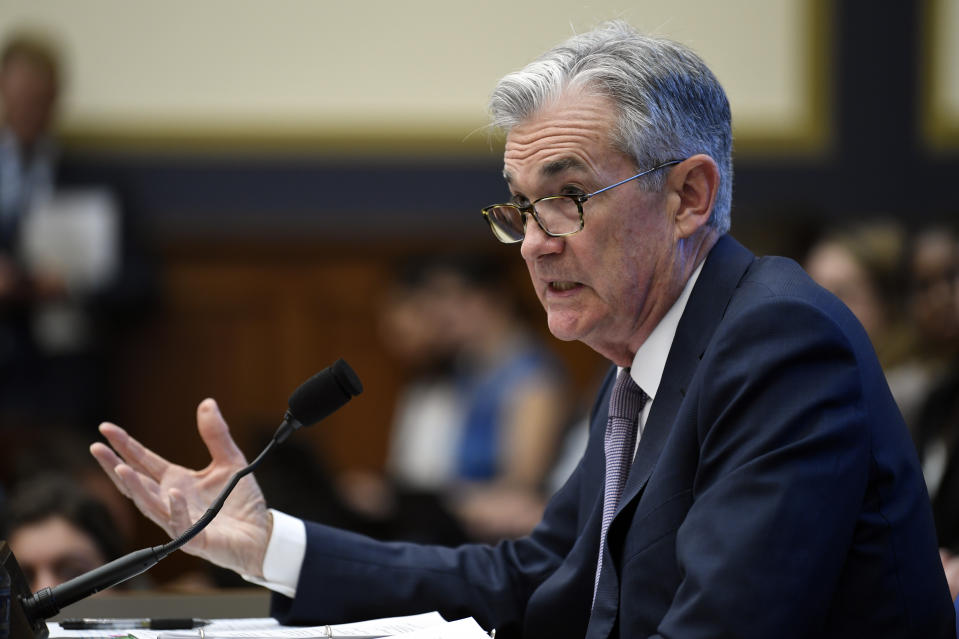 Federal Reserve Chairman Jerome Powell testifies before the House Financial Services Committee on Capitol Hill in Washington, Wednesday, July 10, 2019. (AP Photo/Susan Walsh)
