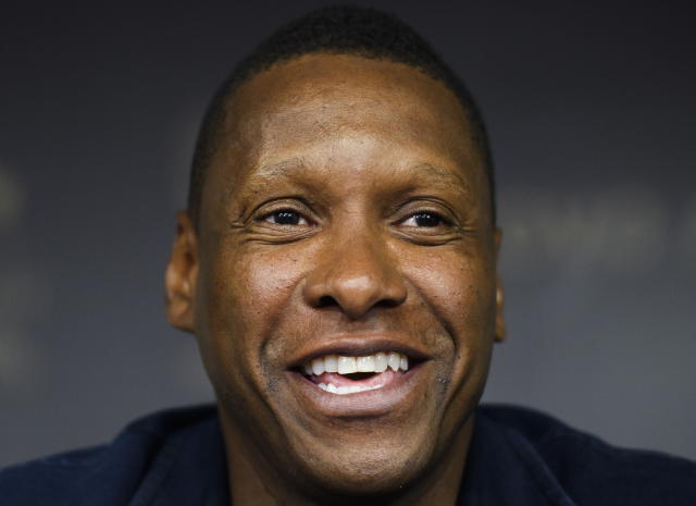 Toronto Raptors NBA basketball team president Masai Ujiri speaks to the media during an end-of-season press conference in Toronto, Tuesday, June 25, 2019. (Nathan Denette/The Canadian Press via AP)
