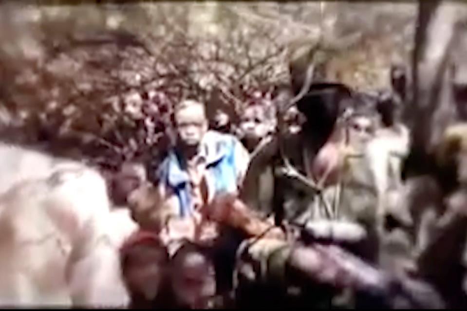 <p>A video allegedly released on Thursday by Nigeria's jihadist rebels, Boko Haram, shows a group of boys under trees</p> (AP)