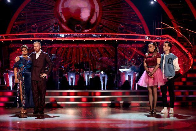 Nina Wadia and Katie McGlynn were in this week's dance off (Photo: Guy Levy/BBC)
