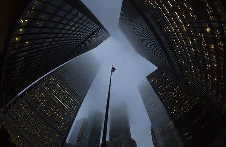 Buildings are seen in the financial district in Toronto