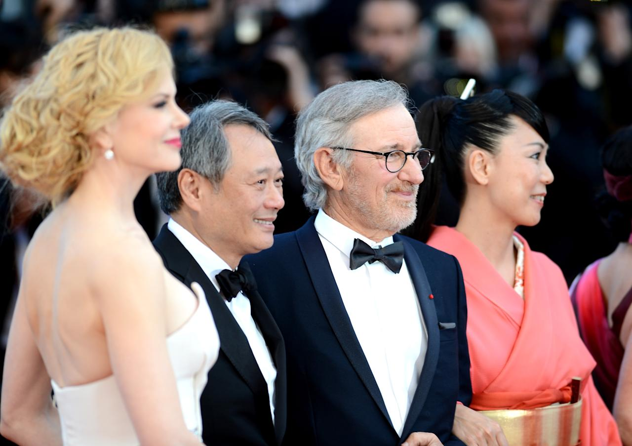 CANNES, FRANCE - MAY 26:  (L-R) Jury members  Nicole Kidman, Ang Lee, President of the Feature Film Jury Steven Spielberg and jury member Naomi Kawase attend the 'Zulu' Premiere and Closing Ceremony during the 66th Annual Cannes Film Festival at the Palais des Festivals on May 26, 2013 in Cannes, France.  (Photo by Ian Gavan/Getty Images)