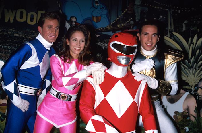 Actress Amy Jo Johnson and other actors costumed as Power Rangers. (Photo by Dave Allocca/DMI/The LIFE Picture Collection via Getty Images)