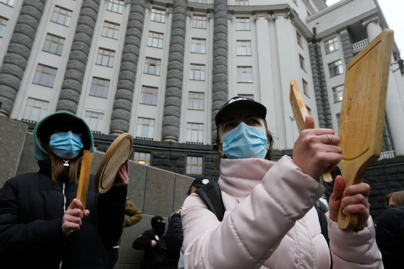 Restaurant workers protest against the strengthening measures to prevent the spread of the coronavirus disease (COVID-19) by introducing a lockdown at weekends, in Kyiv