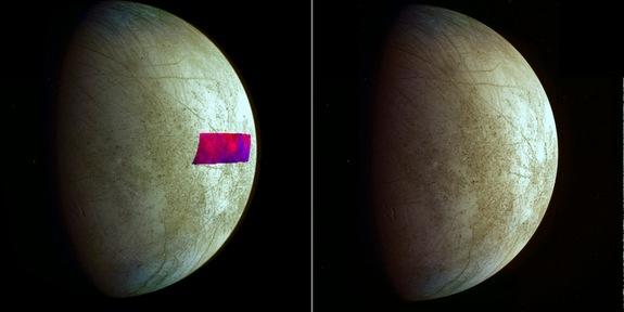 The image at left has a false-color patch that shows the first detection of clay-like minerals on the surface of Jupiter's moon Europa. The clay-like minerals appear in blue. Scientists made the find using data from the Near-Infrared Mapping Sp