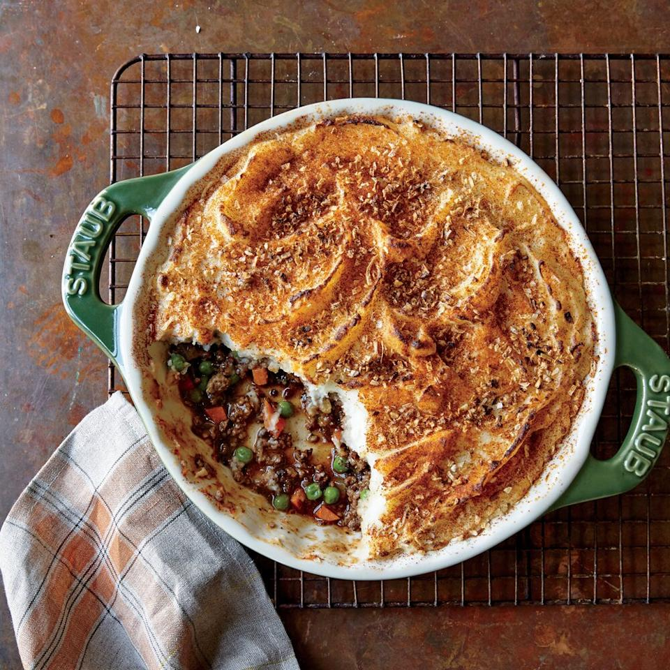 """<p>Making the most of supermarket convenience items gets this family favorite on the table in a flash. Precut matchstick carrots are easier to chop into small pieces quickly, and using prepared mashed potatoes for the topping is a good trick for when you don't have leftover mashed potatoes on hand.</p> <p><a href=""""https://www.myrecipes.com/recipe/speedy-shepherds-pie"""">Speedy Shepherd's Pie Recipe</a></p>"""