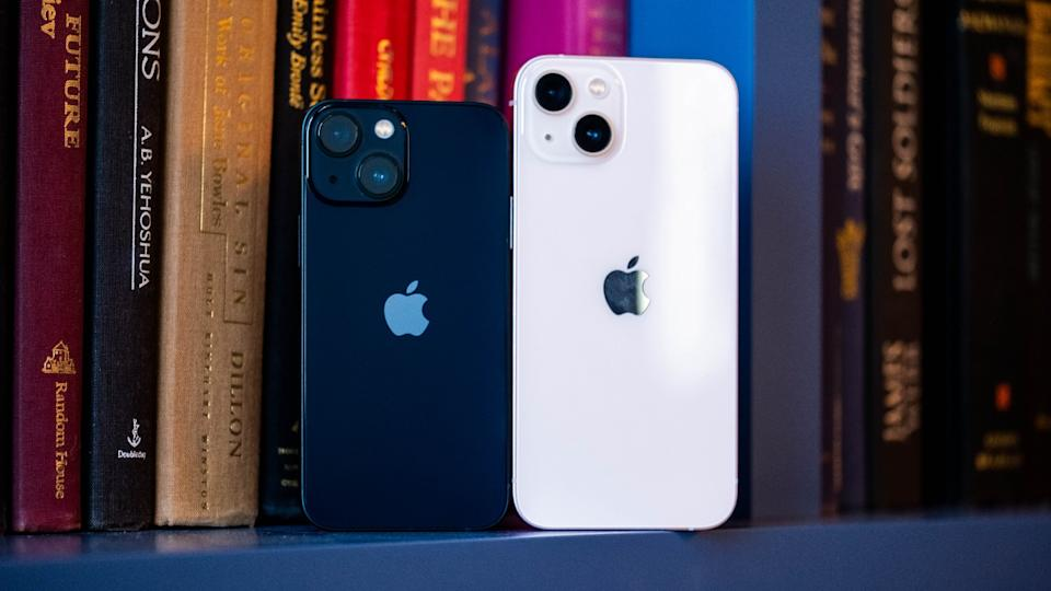 A black iPhone 13 mini and pink iPhone 13 standing in front of some books on a shelf, with their rears facing the camera.