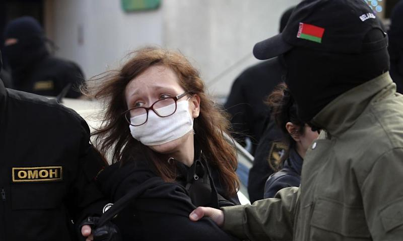 A protester is detained in Minsk at the weekend.