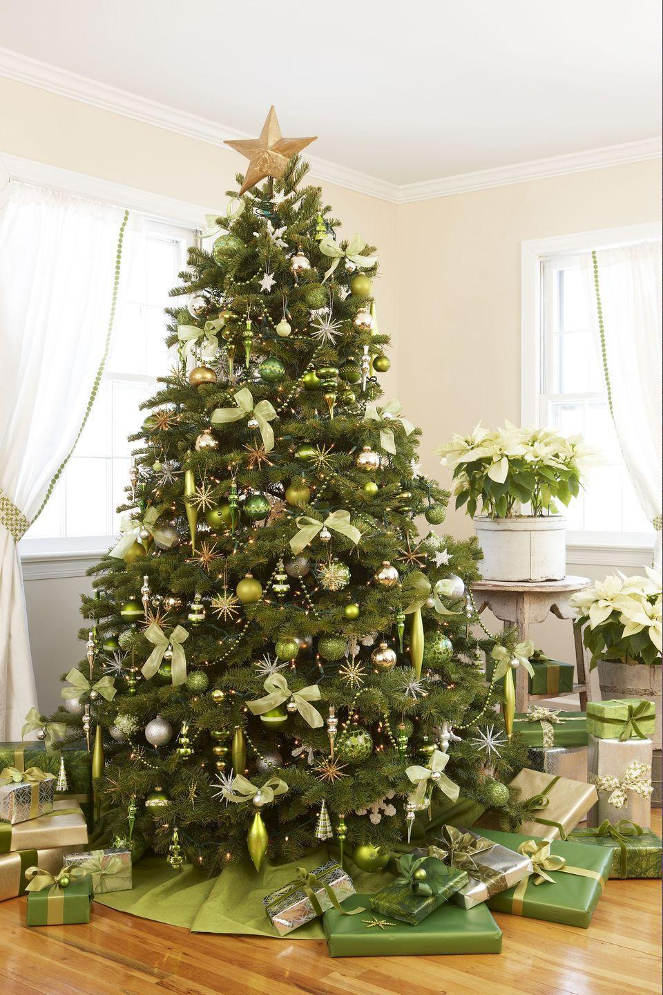 <p>When there's lots of evergreen around, shades of lime and mint feel like a breath of fresh air. Pair verdant trimmings with a classic gold star and silver wrapping paper for subtle shimmer.  </p>