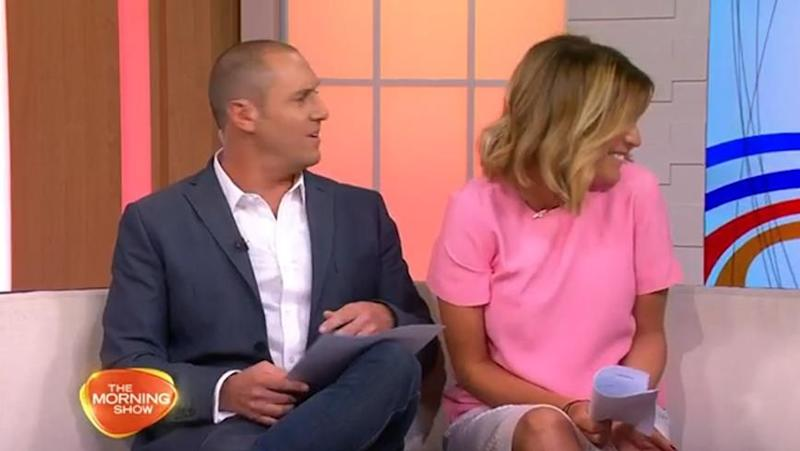 Kylie looks off-camera to see Molly standing there. Source: Seven Network