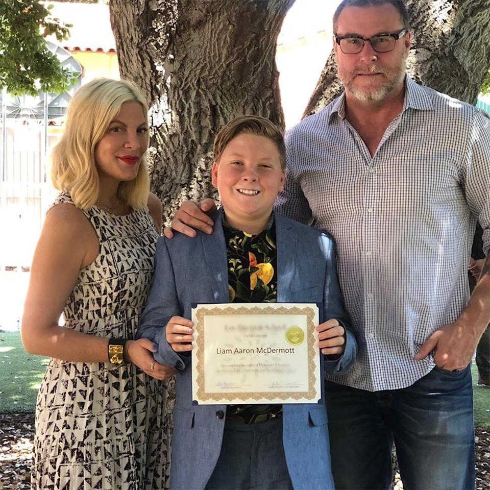 """Tori Spelling and Dean McDermott's oldest child graduated elementary school. """"He said goodbye to 6th grade and his school. His speech blew everyone away. He started at this school as a tiny little blonde babe and has grown into a kind, clever, smart, resilient, driven, funny, and amazing young man,"""" the proud mom said on <a href=""""https://www.instagram.com/p/ByvY4BKBzwC/"""" rel=""""nofollow noopener"""" target=""""_blank"""" data-ylk=""""slk:Instagram"""" class=""""link rapid-noclick-resp"""">Instagram</a>."""