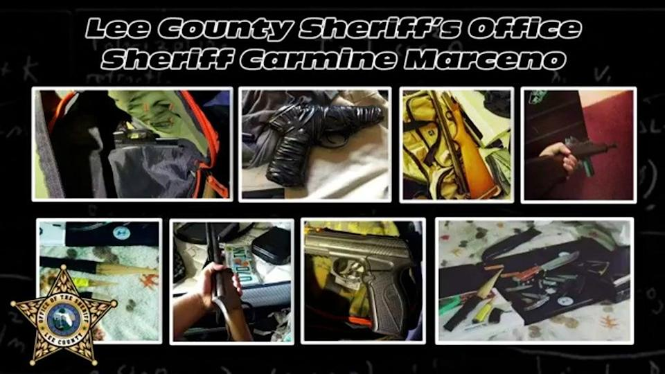Weapons which investigators allegedly found at the students' homes (Lee County Sheriff's)