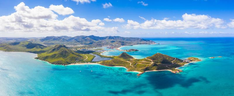 Aerial view of Pearns Point and Caribbean Sea, Antigua, Antigua and Barbuda, Caribbean, West Indies, Leeward Islands (Photo: Roberto Moiola / Sysaworld via Getty Images)