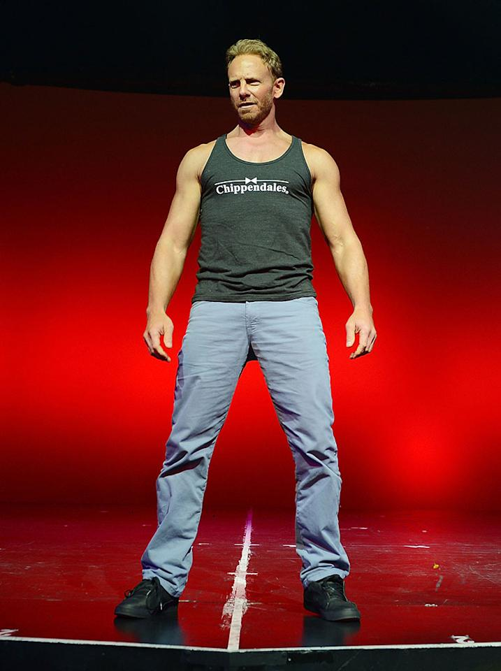 Ian Ziering rehearses with the Las Vegas cast of Chippendales for his upcoming appearances in the show at the Rio All-Suite Hotel and Casino on June 6, 2013 in Las Vegas, Nevada.