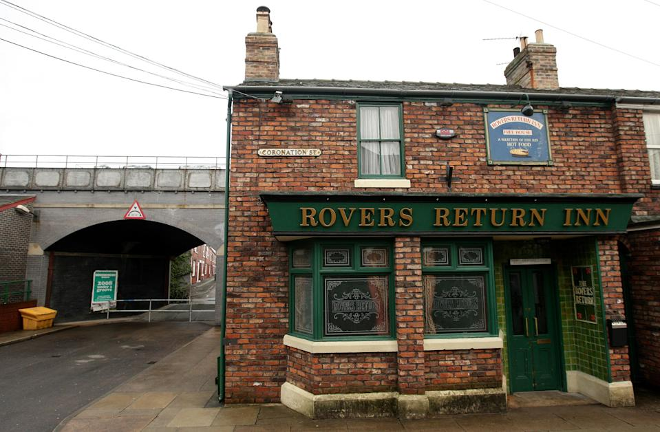 A general view of the Rovers Return Inn on the set of Coronation Street in Manchester, as the Duchess of Cornwall visited the set today.