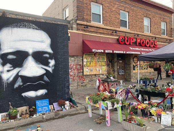 PHOTO: A memorial to George Floyd continues to occupy the spot on Chicago Ave. in Minneapolis where he was killed in police custody in May 2020. (ABC News)