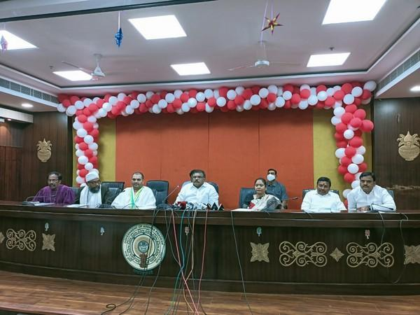 Andhra Pradesh Ministers held a press conference over the ofrmation of Communal Harmony Committees (Photo/ANI)