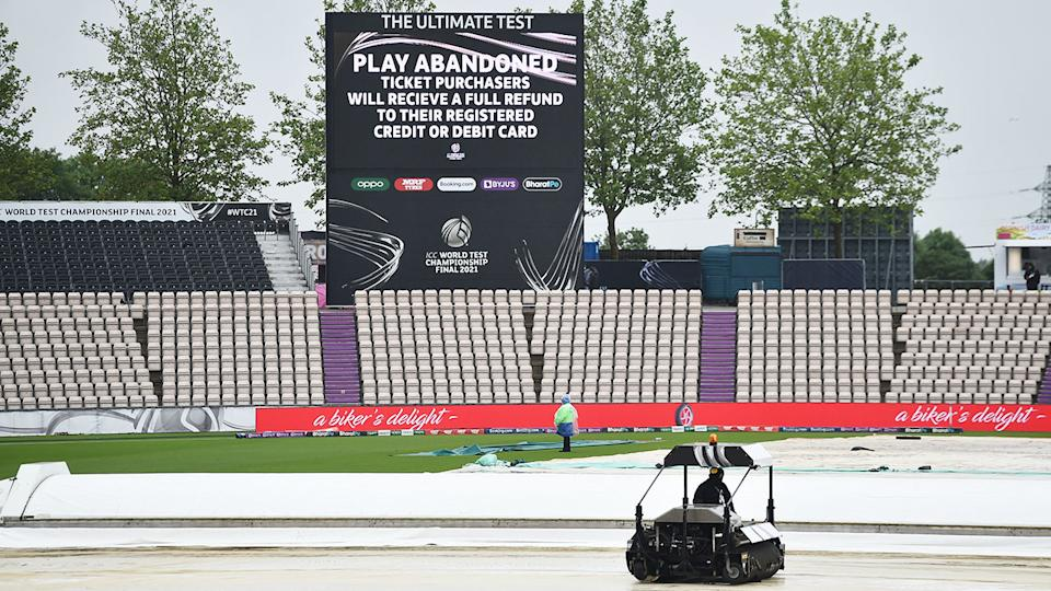 A 'Play Abandoned' sign, pictured here on the fourth day of the World Test Championship final.