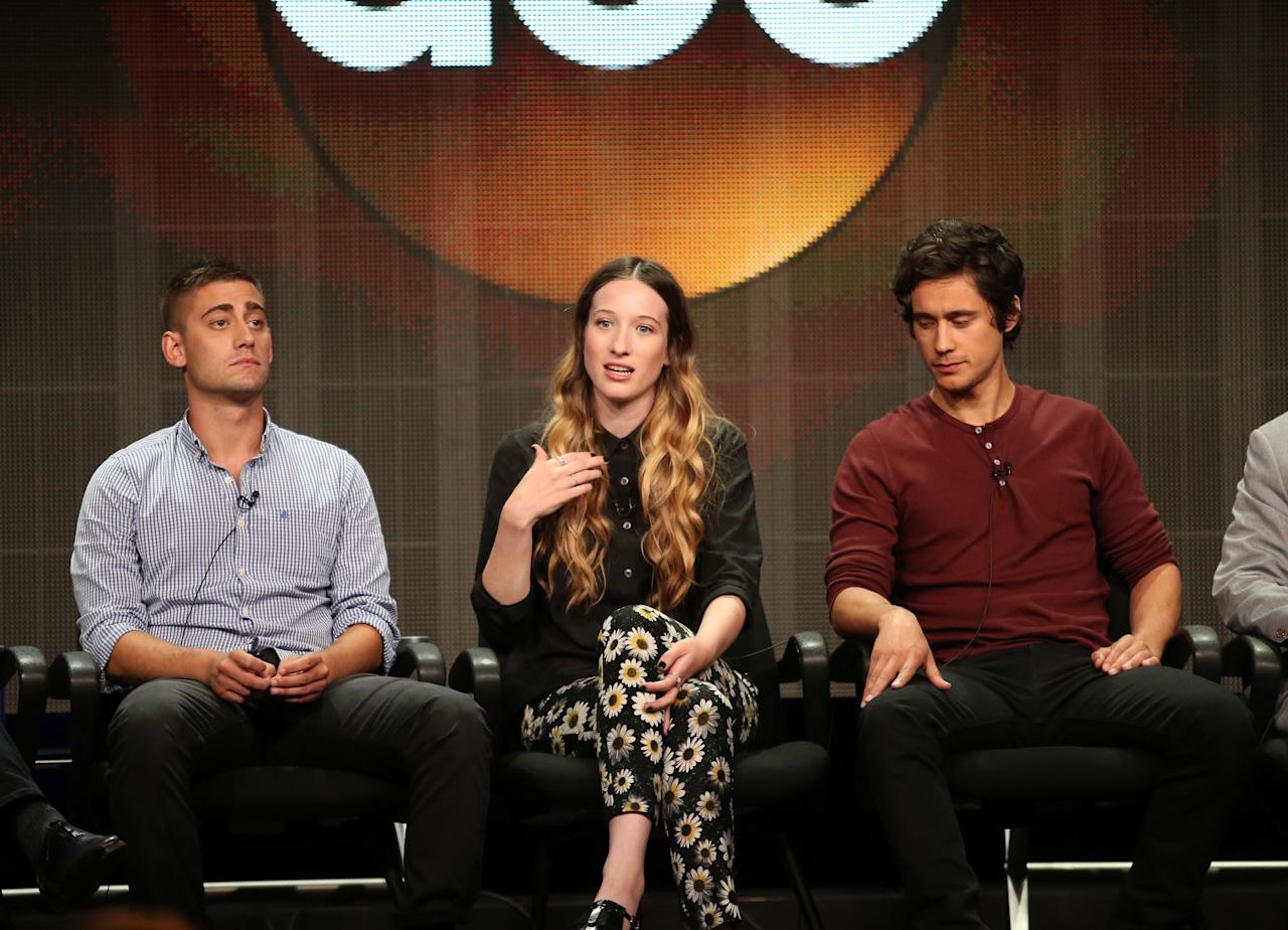"BEVERLY HILLS, CA - AUGUST 04: Actors Michael Socha, Sophie Lowe and Peter Gadiot speak onstage during the ""Once Upon a Time in Wonderland"" panel discussion at the Disney/ABC Television Group portion of the Television Critics Association Summer Press Tour at the Beverly Hilton Hotel on August 4, 2013 in Beverly Hills, California. (Photo by Frederick M. Brown/Getty Images)"