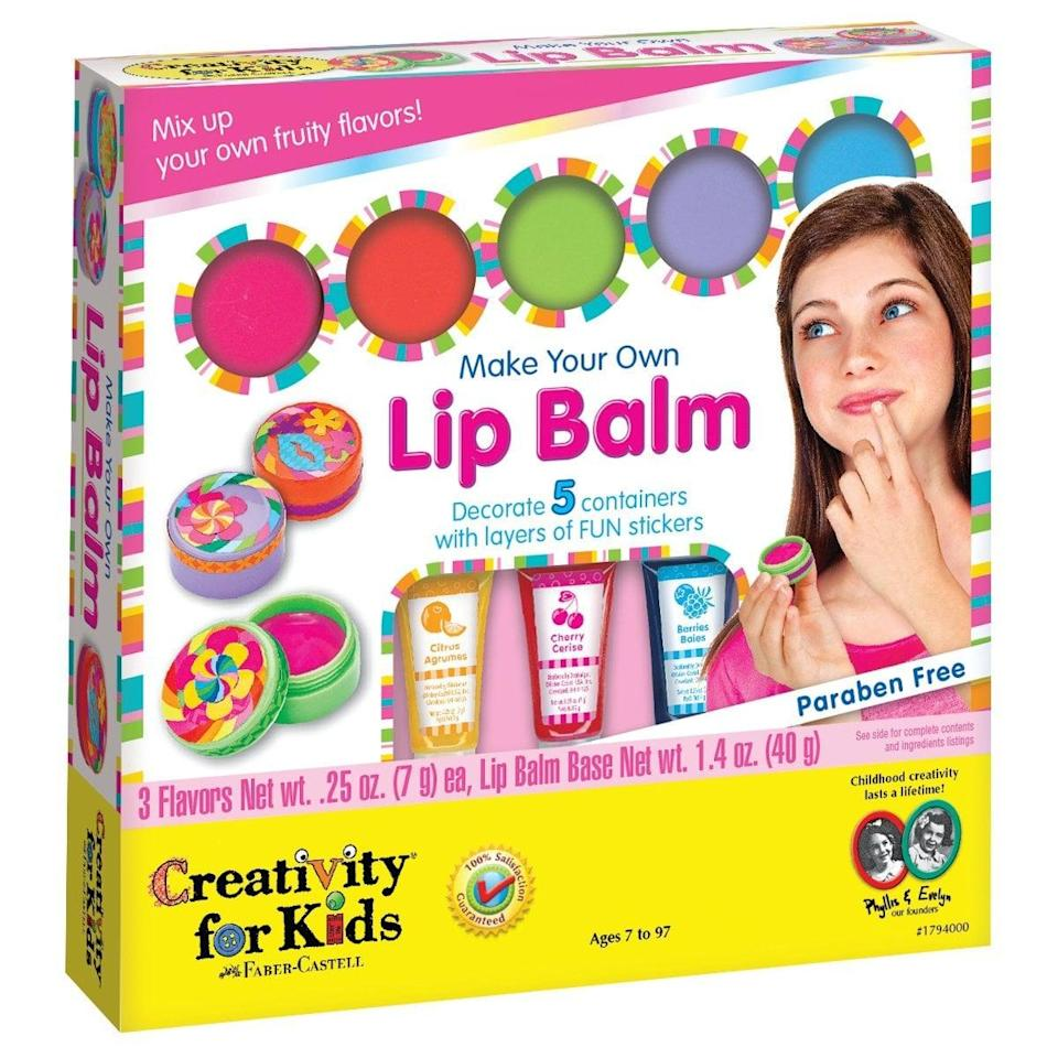 """<p>Make your kid feel like a beauty entrepreneur with this <a href=""""https://www.popsugar.com/buy/Creativity-Kids-Make-Your-Own-Lip-Balm-Kit-569758?p_name=Creativity%20For%20Kids%20Make%20Your%20Own%20Lip%20Balm%20Kit&retailer=amazon.com&pid=569758&price=20&evar1=moms%3Aus&evar9=32519221&evar98=https%3A%2F%2Fwww.popsugar.com%2Ffamily%2Fphoto-gallery%2F32519221%2Fimage%2F36166875%2FCreativity-Kids-Make-Your-Own-Lip-Balm-Kit&list1=gifts%2Choliday%2Cgift%20guide%2Cgifts%20for%20kids%2Ckid%20shopping%2Ctweens%20and%20teens%2Choliday%20for%20kids%2Cgifts%20for%20teens&prop13=api&pdata=1"""" class=""""link rapid-noclick-resp"""" rel=""""nofollow noopener"""" target=""""_blank"""" data-ylk=""""slk:Creativity For Kids Make Your Own Lip Balm Kit"""">Creativity For Kids Make Your Own Lip Balm Kit</a> ($20) that produces some sweet, customizable products.</p>"""