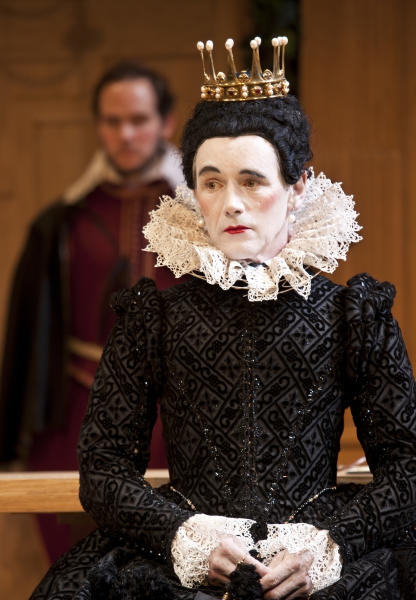 "In this image provided Monday Nov. 19, 2012 by Sonia Friedman Productions, Mark Rylance, as the character Olivia, during a dress rehearsal in Twelfth Night at a London theatre, Nov. 1, 2012. Mark Rylance's latest London performances are hot tickets, and not just because he is one of Britain's leading Shakespearean actors. It's a chance to see him in two wildly contrasting roles, the scheming usurper dispatching everyone who stands between him and the throne in ""Richard III,"" and the aloof countess Olivia, blindsided by love, in the boisterous comedy ""Twelfth Night."" (AP Photo/Simon Annand, Sonia Friedman Productions)"