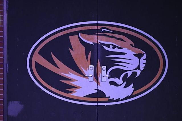 "COLUMBIA, MO – NOVEMBER 25: A <a class=""link rapid-noclick-resp"" href=""/ncaab/teams/mbh/"" data-ylk=""slk:Missouri Tigers"">Missouri Tigers</a> logo is seen on the locker room door at Memorial Stadium on November 25, 2016 in Columbia, Missouri. (Photo by Ed Zurga/Getty Images) *** Local Caption ***"