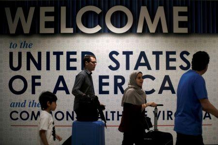 International passengers arrive at Washington Dulles International Airport in Dulles
