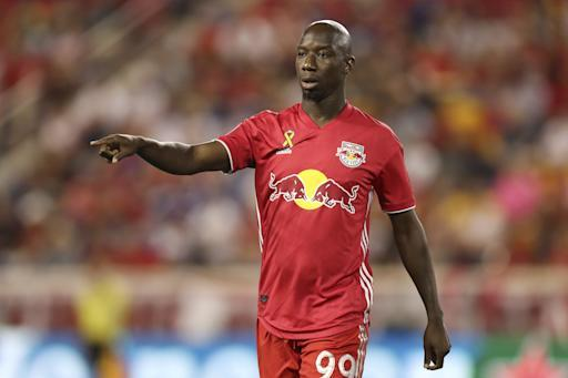 New York Red Bulls forward Bradley Wright-Phillips (99) points out to a teammate during the second half of an MLS soccer match against D.C. United, Sunday, Sept. 29, 2019, in Harrison, N.J. The match ended in a 0-0 draw. (AP Photo/Steve Luciano)
