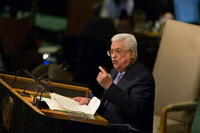 Palestinian president Mahmud Abbas addresses the United Nations General Assembly in New York on September 20, 2017