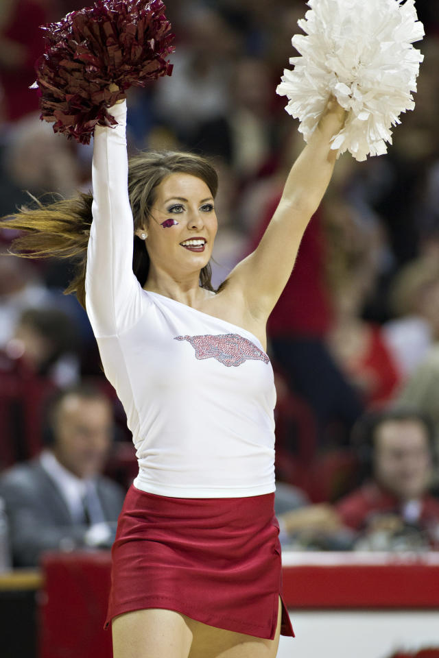FAYETTEVILLE, AR - FEBRUARY 16:  Cheerleader of the Arkansas Razorbacks performs during a game against the Missouri Tigers at Bud Walton Arena on February 16, 2013 in Fayetteville, Arkansas.  The Razorbacks defeated the Tigers 73-71.  (Photo by Wesley Hitt/Getty Images)
