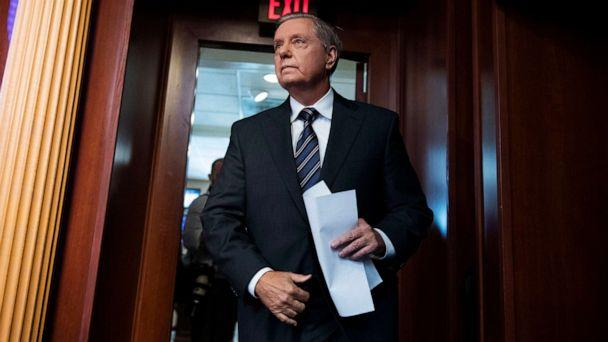 PHOTO: Sen. Lindsey Graham arrives for a news conference in Capitol on the Countering Turkish Aggression Act of 2019, that imposes sanctions on Turkey in response to hostile actions in Syria on Oct. 17, 2019. (Tom Williams/CQ-Roll Call, Inc via Getty Images)
