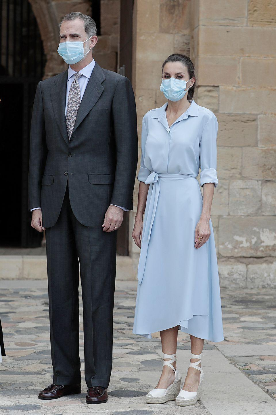 <p><strong>20 July </strong>Queen Letizia of Spain visited the Royal Monastery of Santa Maria de Poblet in Tarragona, Spain, wearing a pale blue shirt and matching wrap skirt. </p>