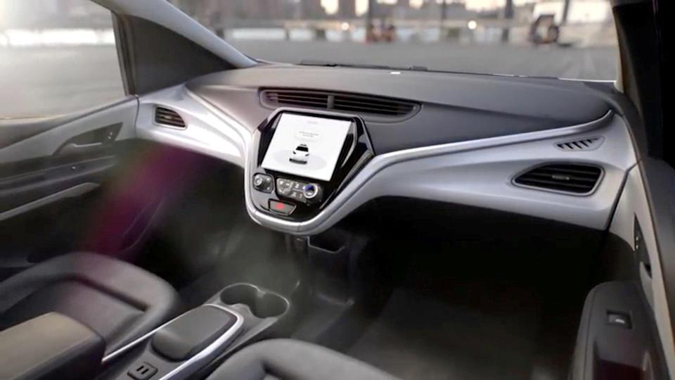 GM's planned Cruise AV driverless car features no steering wheel or pedals in a still image from video released January 12, 2018. General Motors/Handout via REUTERS