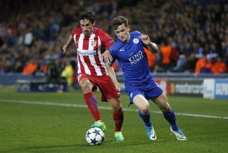 Britain Football Soccer - Leicester City v Atletico Madrid - UEFA Champions League Quarter Final Second Leg - King Power Stadium, Leicester, England - 18/4/17 Atletico Madrid's Stefan Savic in action with Leicester City's Ben Chilwell Action Images via Reuters / Carl Recine Livepic