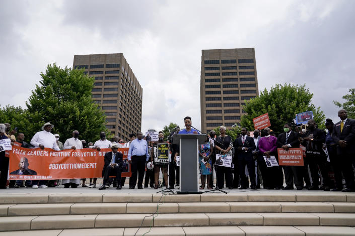 Bernice King, daughter of slain civil rights leader Rev. Martin Luther King Jr., speaks during a voting rights rally at Liberty Plaza near the Georgia State Capitol on Tuesday, June 8, 2021, in Atlanta. (AP Photo/Brynn Anderson)