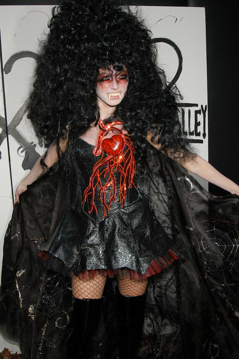 Heidi Klum dressed as a vampire attends Heidi Klum Halloween Party at Happy Valley on October 31, 2005 in New York. Photo courtesy of Getty Images.