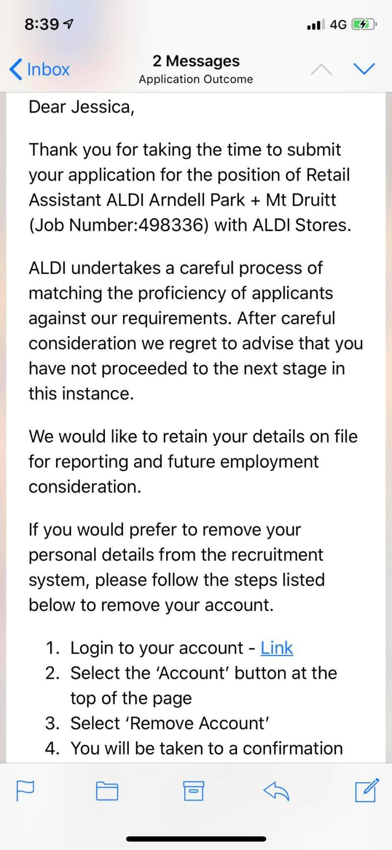 Jessica Irving rejected her job rejection letter from Aldi. And got an interview. Source: Supplied