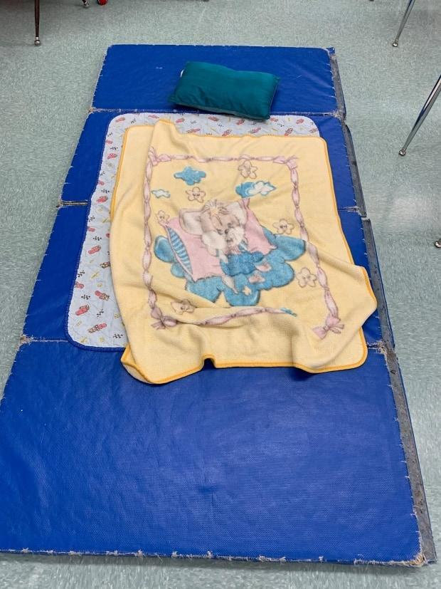The makeshift bed that Jared Wipf, principal at Stewart Valley School, slept in overnight. Wipf, three other staff members and two students stayed at the school due to the winter storm.