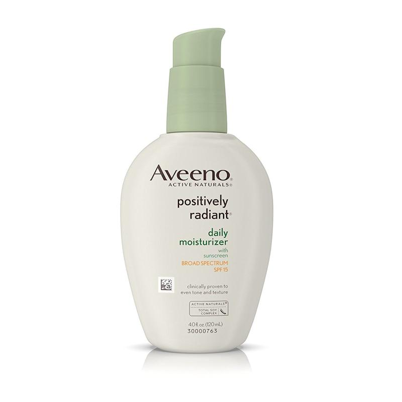 "<strong><a href=""https://www.amazon.com/Aveeno-Positively-Moisturizer-Sunscreen-Spectrum/dp/B001IM5VT4?tag=thehuffingtop-20&th=1"" target=""_blank"">Aveeno Positively Radiant moisturizer with SPF 15</a>, $12.80</strong>"